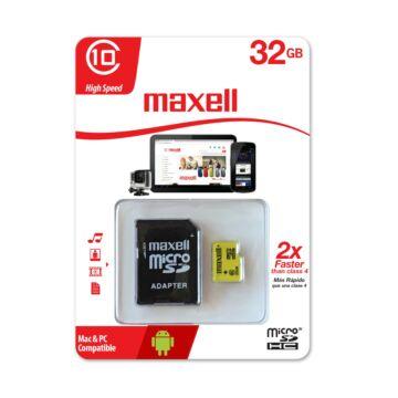 Maxell 32GB Micro SDHC Yellow Memóriakártya Class 10 + Adapter - 855050.00.CN