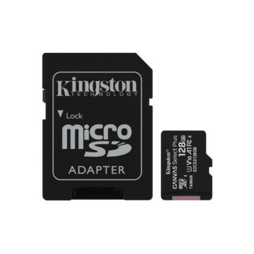 Kingston Canvas Select Plus 128GB microSD memóriakártya + Adapter