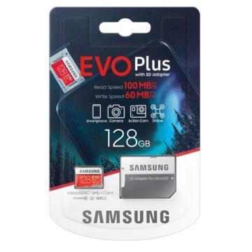 SAMSUNG EVO PLUS MICRO SDXC + ADAPTER 128GB CL10 UHS-I U3 (100 MB/s olvasási sebesség)