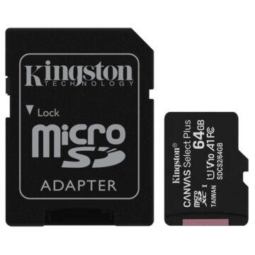 Kingston Canvas Select Plus 64GB microSD memóriakártya + Adapter