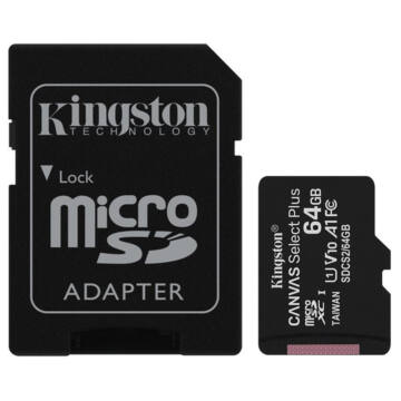 Kingston Canvas Select Plus 64GB microSD memóriakártya + Adapter