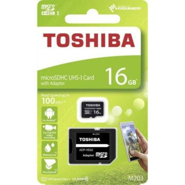 Toshiba 16GB Micro SDHC memóriakártya UHS-I (U1) 100MB/s M3203 class 10 + Adapter - THN_M203K0160EA