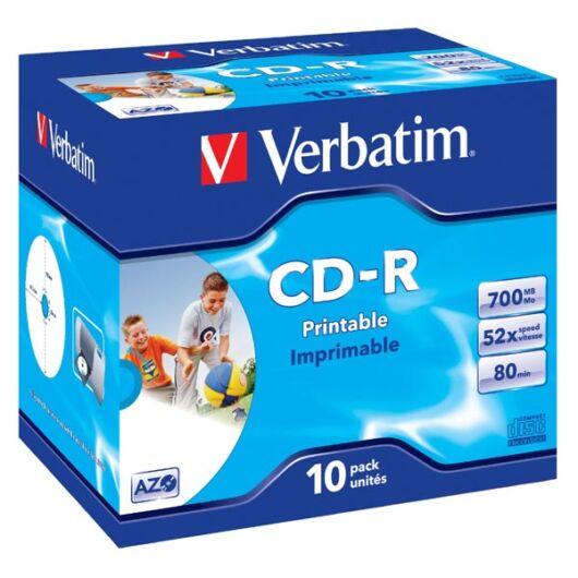 Verbatim CD-R 52X Teljes Felületén Nyomtatható Lemez - Normál Tokban (10) - 43325