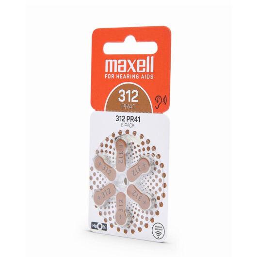 790421.00.EU Maxell PR41 (312) Hallókészülék elem Zinc Air  1.45V 6db/csomag