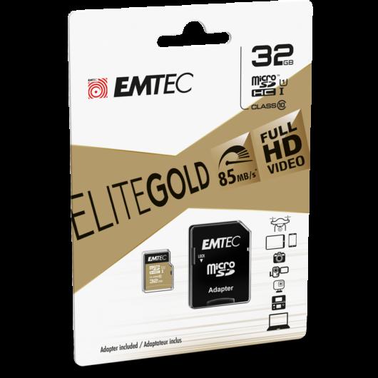 Emtec 32GB microSDHC memóriakártya Class 10 Gold+ (85MB/s. 21MB/s) + adapter - ECMSDM32GHC10GP