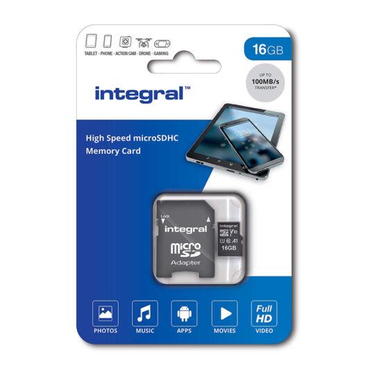 Integral 16GB Micro SDHC INMSDH32G-100V10 memóriakártya [100 MB/s] + Adapter
