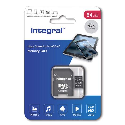 Integral 64GB Micro SDHC INMSDH32G-100V10 memóriakártya [100 MB/s] + Adapter