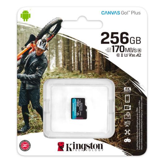 SDCG3/256GBSP KINGSTON CANVAS GO PLUS MICRO SDXC 256GB CL10 UHS-I U3 V30 A2 (170 MB/s olvasási sebesség)