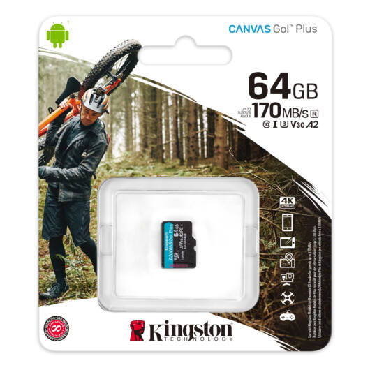 KINGSTON CANVAS GO PLUS MICRO SDXC 64GB CL10 UHS-I U3 V30 A2 (170 MB/s olvasási sebesség)