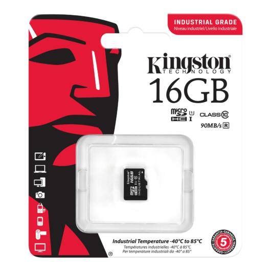 Kingston 16GB Micro SDHC Memóriakártya UHS-I Industrial Temp (90/45 Mb/S) (SDCIT/16GBSP) - SDCIT_16GBSP