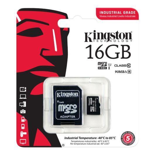 Kingston 16GB Micro SDHC Memóriakártya UHS-I Industrial Temp (90/45 Mb/S) + Adapter (SDCIT/16GB) - SDCIT_16GB
