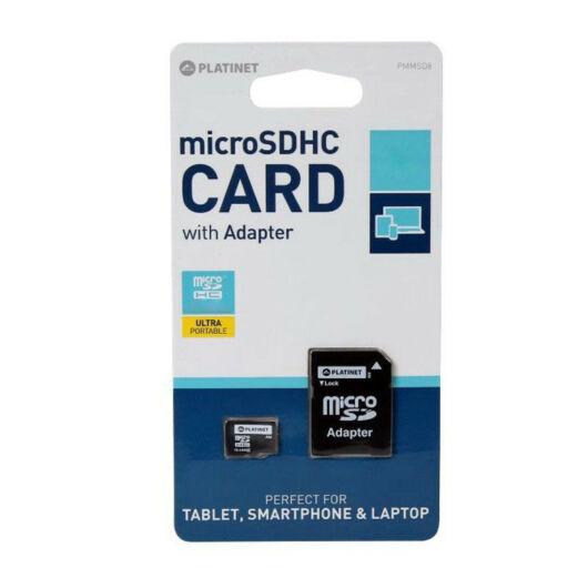 Platinet 16GB Micro SDHC Memóriakártya Class 10 + Adapter - 42209
