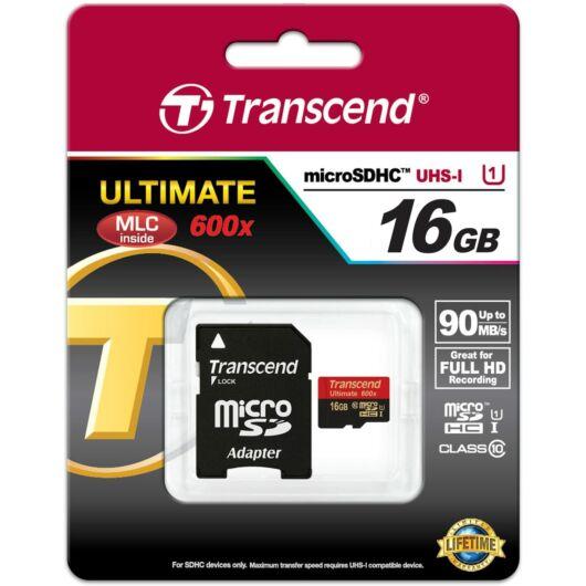 Transcend 16GB Micro SDHC Memóriakártya Class 10 UHS-I 600X - TS16GUSDHC10U1