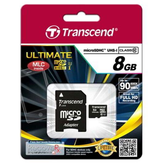 Transcend 8GB Micro SDHC Memóriakártya Cl10 UHS-I 600X - TS8GUSDHC10U1