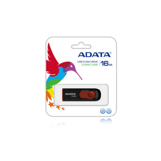 Adata C008 Classic 16GB Pendrive USB 2.0 - Fekete-Piros (AC008-16G-RKD) - AC008_16G_RKD