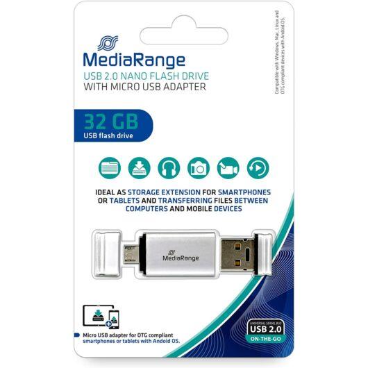 Mediarange Nano 32GB Pendrive USB 2.0 + Micro USB - Android Telefonokhoz, Tabletekhez - MR932