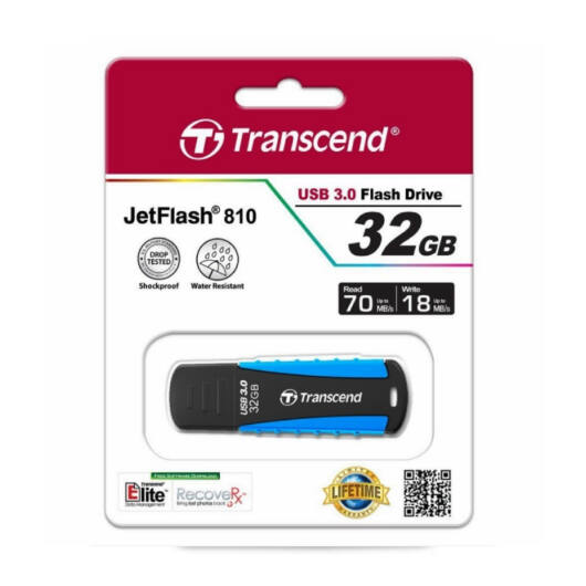 TS32GJF810 TRANSCEND JETFLASH 810 PENDRIVE 32GB USB 3.0 Fekete-Kék