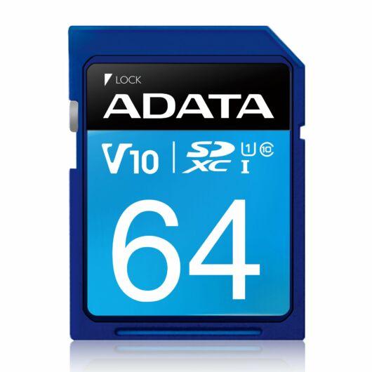Adata 64GB SDXC Memóriakártya UHS-I Premier,Class 10 (ASDX64GUICL10-R) - ASDX64GUICL10_R