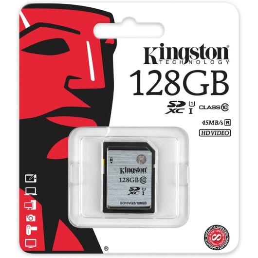 Kingston 128GB SDXC Memóriakártya UHS-I Class 10 (45 Mb/S) (SD10VG2/128GB) - SD10VG2_128GB