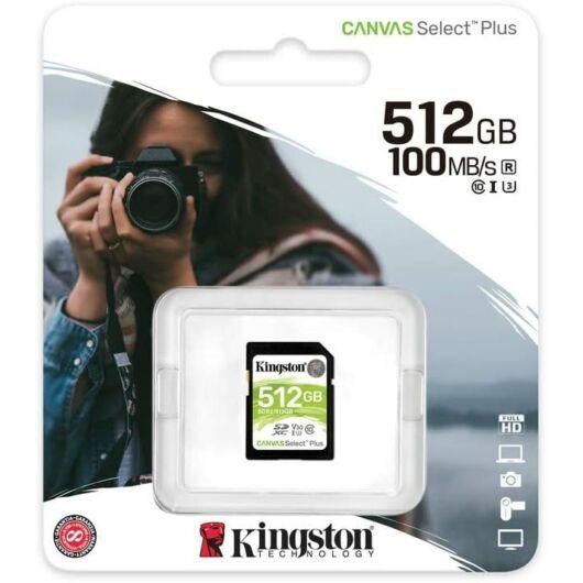 SDS2/512GB KINGSTON CANVAS SELECT PLUS SDXC 512GB CL10 UHS-I U3 V30 (100 MB/s olvasási sebesség)