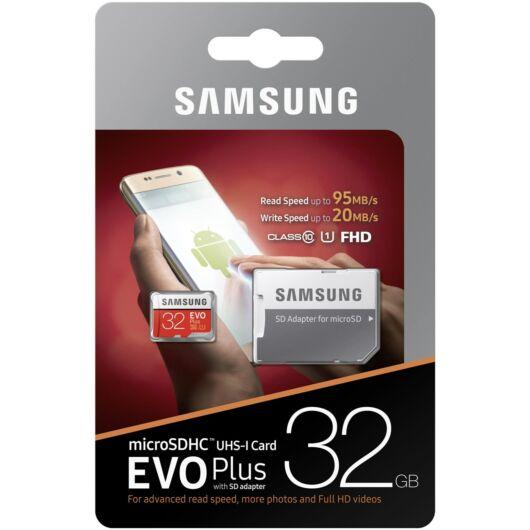 Samsung 32GB Micro SDHC Memóriakártya UHS-I Evo+ Class 10 + Adapter - MB_MC32GA_EU