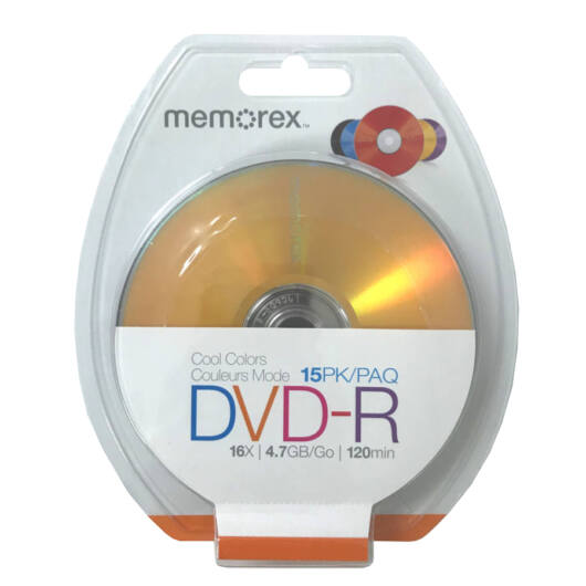 MEMOREX DVD-R 16X 4,7GB Színes Lemezek 15db BLISTER