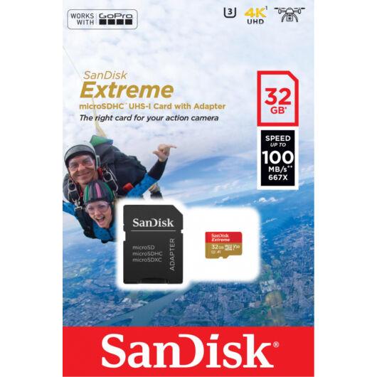 SanDisk Extreme 32GB Micro SDHC Memóriakártya UHS-I Class 10 + Adapter (SDSQXAF-032G-GN6AA) - SDSQXAF_032G_GN6AA