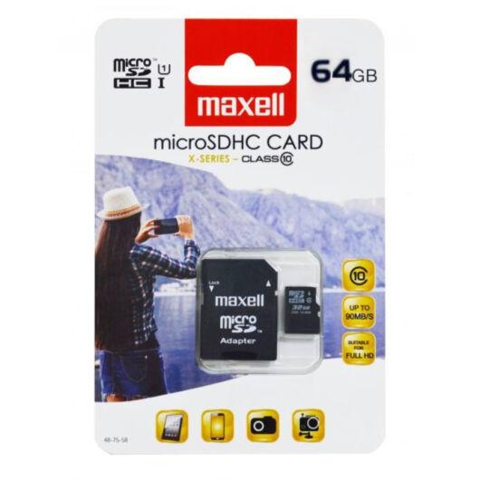 Maxell 64GB Micro SDXC Memóriakártya Class 10 + Adapter - 854988.00.GB