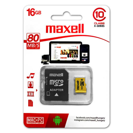 Maxell Yellow 16GB Micro SDHC Memóriakártya Class 10 + Adapter - 855030_00_TW
