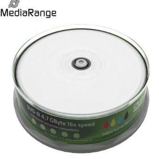 MediaRange DVD-R 16X Nyomtatható Felületű Lemez Cake (25) - MR407