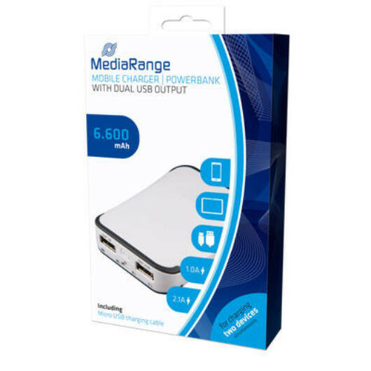 MediaRange Powerbank 6 600 mAh két USB kimenettel - MR742