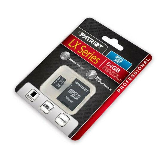 Patriot micro SDXC LX series UHS-I 64GB Class 10 memóriakártya PSF64GMCSDXC10 - PSF64GMCSDXC10