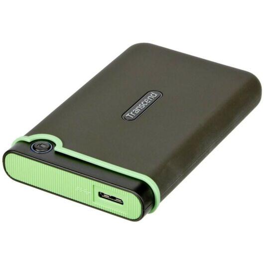Transcend Storejet 25M3 1TB Ext. HDD Külső Merevlemez 2.5'' USB 3.0, Sw Elite, Szürke / Zöld - TS1TSJ25M3