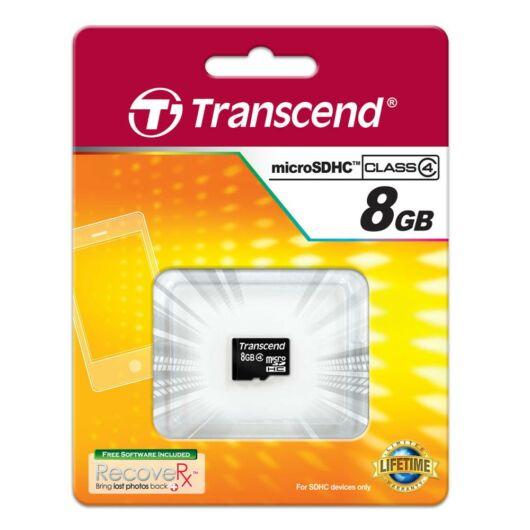 Transcend 8GB Micro SDHC Memóriakártya Class 4 - TS8GUSDC4