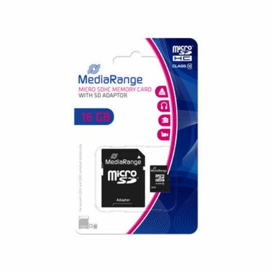 Mediarange 16GB Micro SDHC Memóriakártya Class 10 + Adapter - MR958