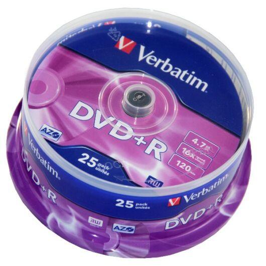 Verbatim DVD+R 16X Lemez - Cake (25) - 43500