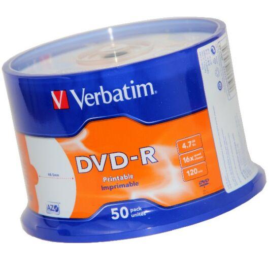 Verbatim DVD-R 16X Teljes Felületén Nyomtatható Lemez /NO ID/ - Cake (50) - 43533