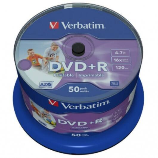 Verbatim DVD+R 16X Teljes Felületén Nyomtatható Lemez - Cake (50) - 43512