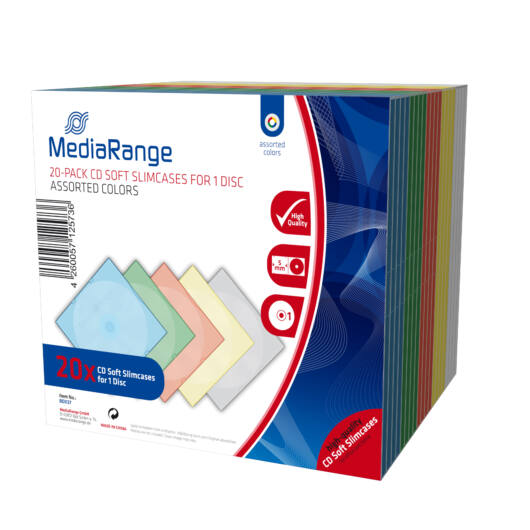 CD-Box 5 mm Single Mediarande Assorted Colors 20 db - BOX37