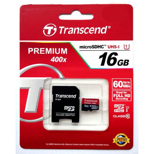 Transcend 16GB Micro SDHC Memóriakártya UHS-I Class 10 (60 Mb/S) + Adapter - TS16GUSDU1